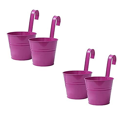 4 PCS Multicolor Colgando Flor Plant Pots con Gancho Desmontable Metal Cubo de Hierro Flor Polot Soportes Cerca jardín Balcón Planter macetas para la Ventana Patio Decoración del hogar
