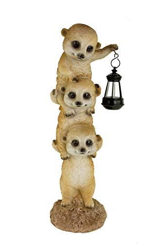 Erdmännchen Bande mit Led Laterne Figur 38 cm Tierfigur Erdmännchenfamilie