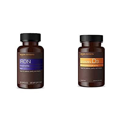 Amazon Elements Iron 18mg, Vegan, 195 Capsules, 6 month supply (Packaging may vary)