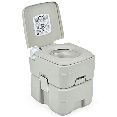 "Giantex Portable Toilet 5.3 Gallon with Waste Tank, Built-in Rotating Spout, Powerful Push Pump Compact Commode for Travel, Boating, Camping, RV Toilet Porta Potty (LightArmyGreen, 16"" x 14"" x 16.5"")"