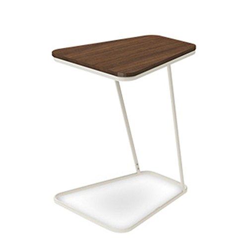 Table D'appoint Basse Tables Basses Café Table en Verre d'angle Bureau D'ordinateur en Métal Z Châssis en Forme De Canapé Mini Tingting (Couleur : Marron)
