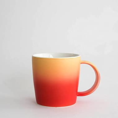 Root Ombré Mugs Collection – Ombré Gradient Mug (Magma – Red/Orange), Soft Touch, 12oz, New Bone China for Coffee/Tea/Beverage/Mug Cake/Stationary and Plant Holder by 7