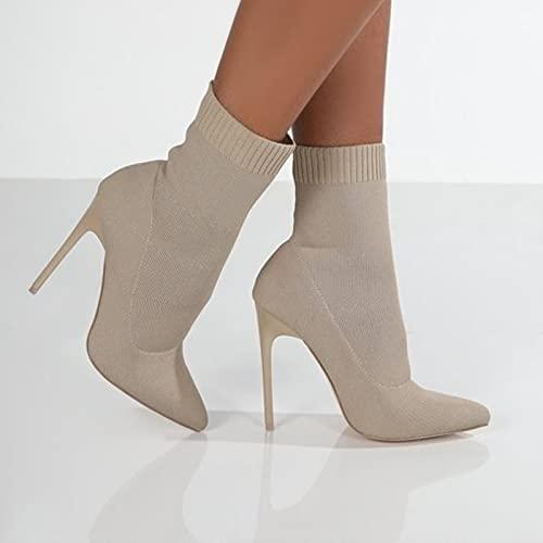 ZXCN Stivali di Calzini Invernali Stivali da Maglietta Sexy Stivali Elasticizzati Tacchi Alti per Le Donne Scarpe Moda Femminile Autunno Tacco Sottile Caviglia