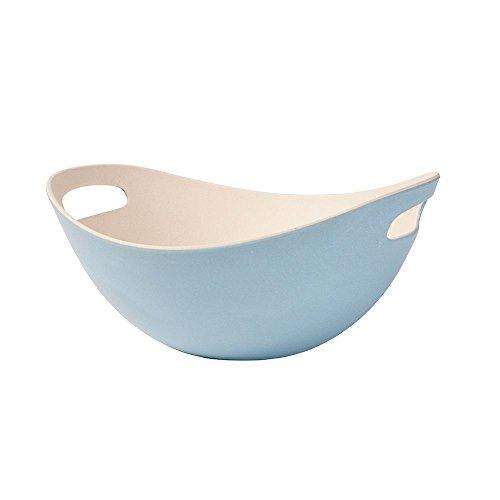 BIOZOYG Vajilla de bambú ensaladera con Asas I tazón de Muesli Ensaladera platillo de Frutas Reutilizable, Respetuoso con el Medio Ambiente, sin BPA I Cuenco de bambú Oval 25,5 cm Azul Blanco