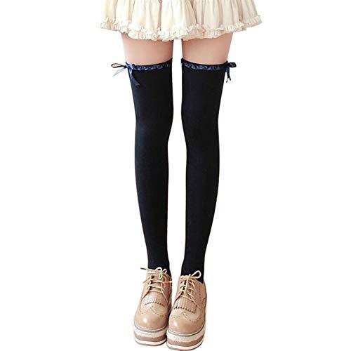 YUNGYE Tienda de Encaje Arco de la Cinta Medias Alto de Rodilla Calcetines de algodón Que Basa Calcetines Mujeres Japonés Kawaii Largo Medias (Color : Navy)