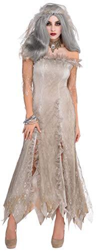 Amscam 842871-55 - Erwachsenenkostüm Zombie Braut, Kleid, Schleier, Halskette, Halloween, Mottoparty, Karneval