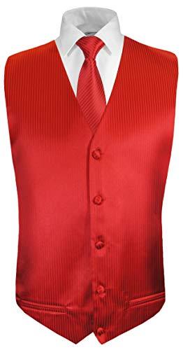 Paul Malone Hochzeitsweste + Krawatte rot Uni gestreift - Bräutigam Hochzeit Anzug Weste Gr. 50 S