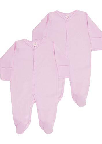UKMerchandise - Pijamas unisex de algodón para recién nacidos, ropa todo en uno, para niños y niñas de 0 a 6 meses, paquete de 2 unidades Rosa rosa 2 mes
