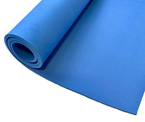 nuwi Tapete Azul para Yoga Pilates Ejercicio de Espuma EVA 8mm Grueso Antiderrapante, Suave, Resistente y Ecológ
