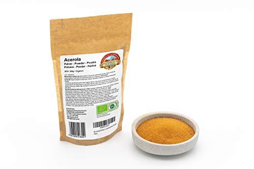Acérola poudre Bio 250g avec teneur en vitamine C alimentaire naturelle de 25% biologique, pur et sans additifs