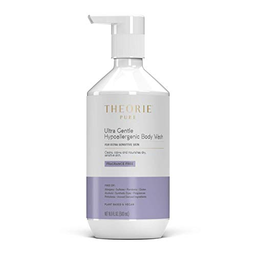 THEORIE Pure Ultra Gentle Hypoallergenic Body Wash - Plant Based & Vegan - Fragrance Free - Cleansing Exfoliant for Sensitive Skin - Gently Buffs away Impurities, Pump Bottle 500mL