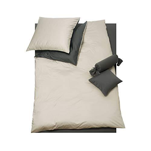 DORIS MEYER Interlock-Jersey Wendebettwäsche Milano Kiesel/anthrazit 1 Bettbezug 135 x 200 cm + 1 Kissenbezug 80 x 80 cm