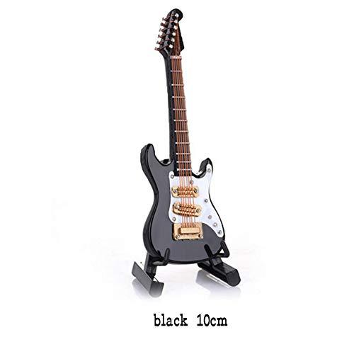 Mini Holz E-Gitarre Modell, Mini Musikinstrumente Modell, Deko Geschenk mit halter und Koffer DIY Wohnzimmer Deko 10cm/14cm (Schwarz, 10CM)