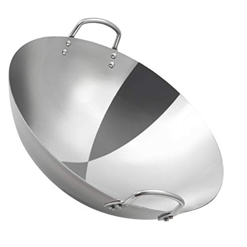 Wok - Stainless Steel Large Non Stick Gas Stoves Safe Wok, with Loop Handles Large Pan, Commercial Grade Cookware,60cm