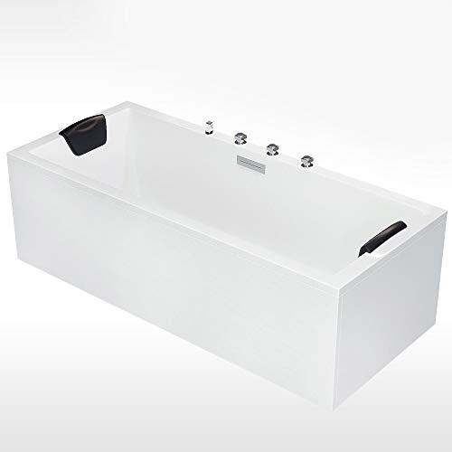 AQUADE Badewanne 190x90 Komplett-Set inkl. Schürze Wannenträger Standard Ab- Überlaufgarnitur Rechteck-Badewanne aus Sanitäracryl Modell: Neu-Ulm Armatur mit integriertem Wasserfall Nackenkissen