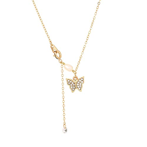 1 Piece Long Chain Diamond Butterfly Necklaces Womens Statement Necklace Fashion Jewelry