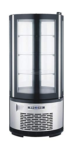 Kühlvitrine Silber Kuchenvitrine Gastro - 100 Liter - R 134 A - rund Doppelverglast