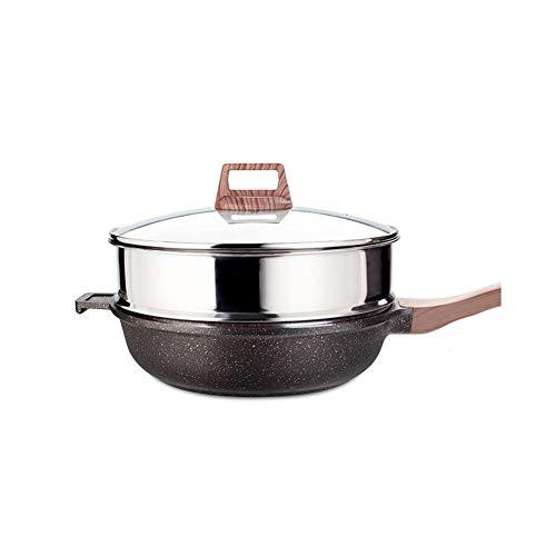 Maifan Steen Anti-aanbak Wok Steamer, No-Smoke pan Wok Induction Cooker Gas Fornuis Dedicated, Geschikt voor Home Kitchen 24CM 32CM Modern design size 28cm