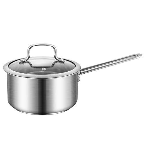 LWLEI Milchtopf Edelstahl Suppentopf Kochtopf Milchpfanne Induktionstopf Mit Glasdeckel Geschenk (Farbe : Silver)