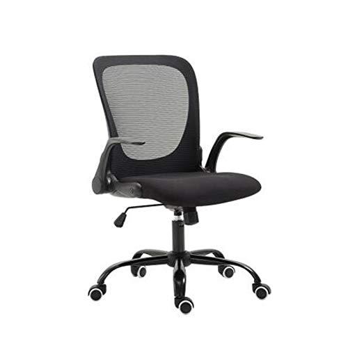 WSJQWHW Silla de oficina, reposabrazos, multifuncional, plegable para el hogar, silla de oficina, silla de diseño ergonómico, negro y blanco (color negro)