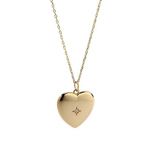 ShSnnwrl Colgante Collar de corazón Brillante de Plata de Ley 925, Collar con Colgante de Oro Elegante circon
