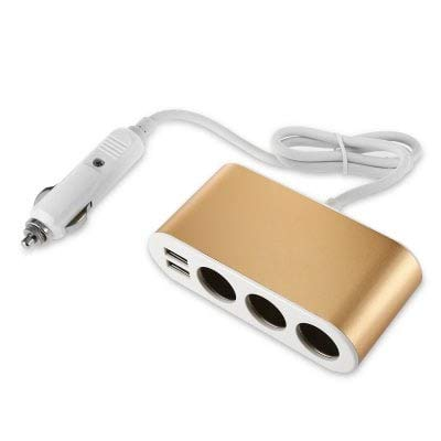 ExcLent Chargeur Allume-Cigare 3 Ports USB Doubles - Gold