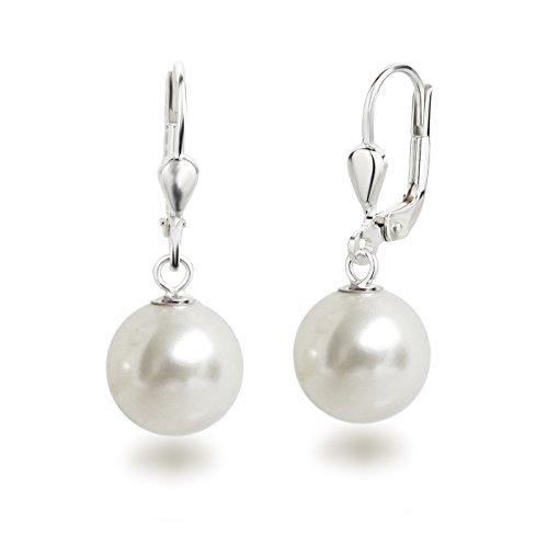 Schöner-SD Perlenohrringe Ohrhänger 925 Silber mit 10mm großen runden Perlen weiß