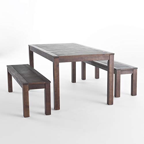 Christopher Knight Home 299827 Marin Acacia Wood Outdoor Picnic Set | Perfect for Patio | | in Dark Brown