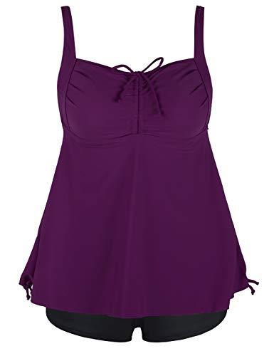 Septangle Women's Plus Size Bathing Suits Paisley Print Two Piece Swimsuit (Fuchsia, US 12)
