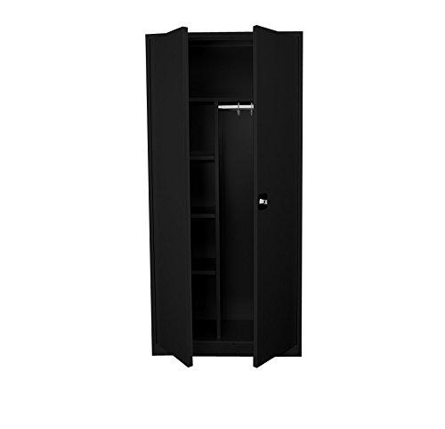 Stahl Kleider-Wäscheschrank 195cmx92cm Flügeltürenschrank Spint PutzSpind 545549 schwarz kompl. montiert und verschweißt