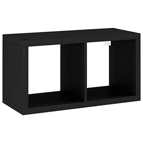 vidaXL Estante de Cubo de Pared Estantería Colgante CD Libros Coleccionables Fotos Premios Adornos Decoración Librerías MDF Negro 69,5x29,5x37 cm