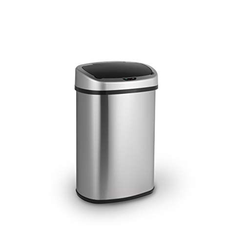 LIFA LIVING 48L Automatischer Sensor Mülleimer, Küchenabfälle, Abfalleimer mit Hand Bewegungssensor, Mülleimer Metall, Edelstahl, Silber (50l)