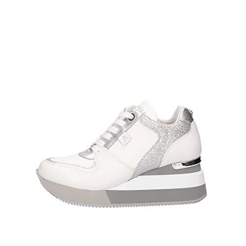 Sneaker Apepazza MOD. Harya con Fondo Zeppa in Pelle Bianco/Silver DS20AP01