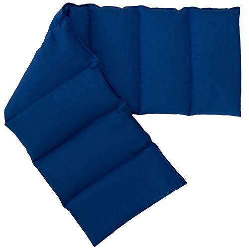 Leinsamenkissen XXL 8-Kammer 75x20cm (Bio Stoff enzianblau) Wärmekissen Körnerkissen für Mikrowelle und Backofen