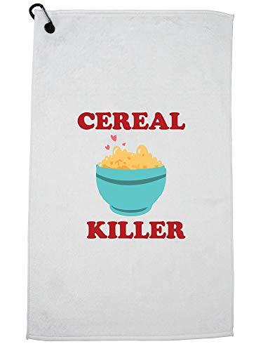 Hollywood draad graanmoordenaar met kom van graan en lepel hilarische spelen op woorden golfhanddoek met karabijnhaak clip