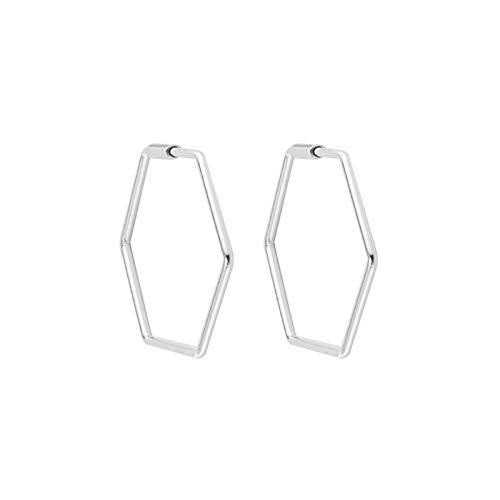 Pendientes de aro de plata de ley 925 con forma hexagonal.