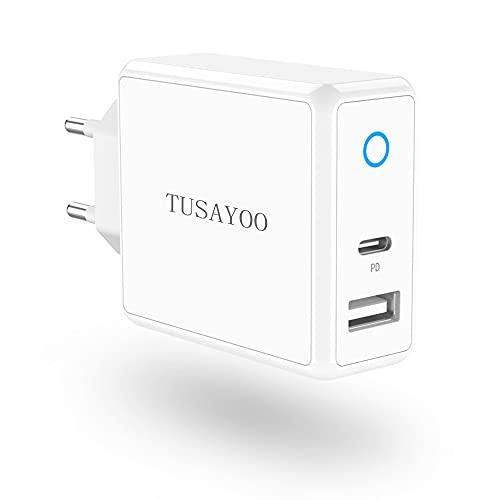 TUSAYOO 32W Caricatore USB C, 20W PD Alimentatore USB C + 12W Presa USB A, Spina Muro Caricabatterie Carica Batterie Rrapido USB, compatibile con iPhone 12 Pro/12 Pro Max/Mini/11/Xs/Xr/X/8/7, Android