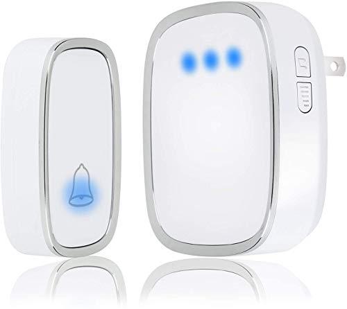 Draadloze deurbel, waterdichte deurbel-klokset, eenvoudig te installeren, werkt op 1000 ft bereik met 36 melodieën om uit te kiezen, 4 instelbaar volume en LED-flitser,1 receiver 1 transmiter