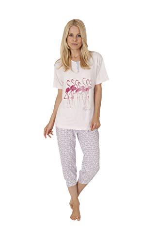 Unbekannt Damen Pyjama mit Rundhals, Kurzarm, Flamingo, Capri-Hose Allover, Rose, 58634, Gr. L 44/46