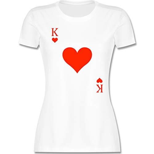 Karneval & Fasching - King Kartenspiel Karneval Kostüm - M - Weiß - kartenspiel Oberteil - L191 - Tailliertes Tshirt für Damen und Frauen T-Shirt
