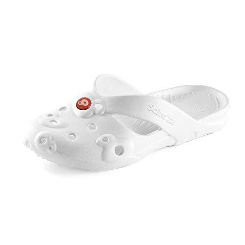 Schu'zz Mule - Sandalias para mujer, ligeras, cómodas, femeninas, modernas y muy duraderas, ideales para el hogar y el ocio, Blanco (blanco), 39 EU