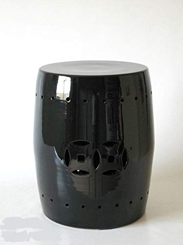POLONIO - Mesa Auxiliar de Ceramica Negra de 42,5 cm - Taburete de Ceramica- Puff de Ceramica -Mesa de Ceramica Color Negro - Jarron de Ceramica Negro