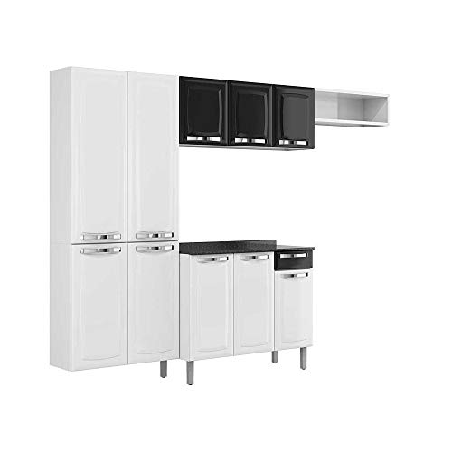 Cozinha Compacta Itatiaia Rose 7 Portas Branco e Preto