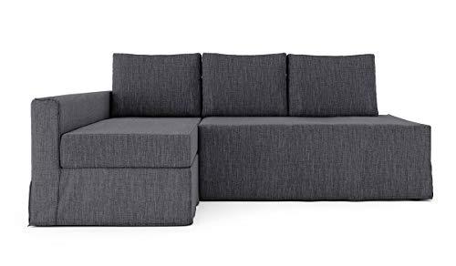 SC Polyester Loose Fit Friheten Sleeper Sofa Cover für IKEA Friheten 3-Sitzer Sofa Bett Schonbezug und teilbare Chaise Sofa Abdeckung (versteckter Sofabettbezug ist nicht im Lieferumfang enthalten), Polyester, Dunkelgrau-l, chaise lounge on Left 06