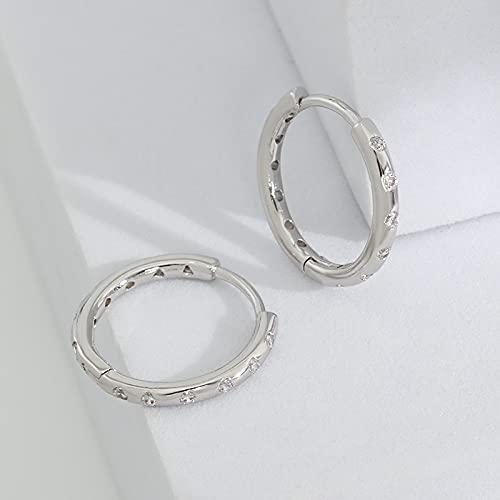 Orecchini S925 Orecchini con anello di diamanti Orecchini con perno in stile europeo e americano Orecchini a forma di arco semplici orecchini francesi in oro rosa A