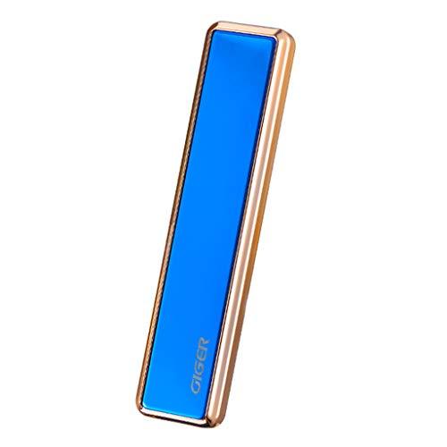 USB-Ladenfeuerzeug Slim – USB-Feuerzeug, dünn, tragbar, wiederaufladbar, ohne Flamme, Winddicht, elektronisch, intelligente Zigarettenanzünder, für Kerze, Zigarette blau
