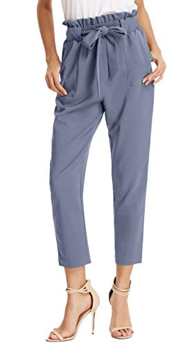 Women's Simple Solid Ruffle Tie Waist Pants with Pockets L Blue-Gray