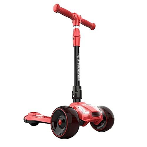 QIXIAOCYB Scooter para niños PREMIUM 3 RUEDAS DE RUEDA Scooter para niños pequeños 3+ Año con 4 ruedas intermitentes de altura ajustable Lámina antideslizante magro para dirigir Green (Color : Red)