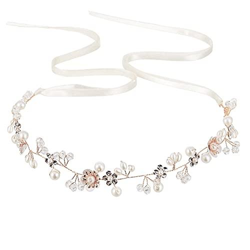 Xinzistar - Diadema para mujer, diseño de flor blanca, hoja de plata para el cabello con cristales, cascos de boda, para el pelo, accesorio de regalo para la diadema.