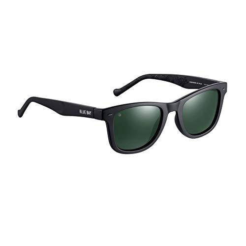 BLUE BAY Chitra - Occhiali da Sole Con Protezione UV 100%, Unisex- Adulto, Montatura Nera e Lenti Verdi